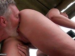 Young curvy brunette up succulent nuisance gets licked by grown up