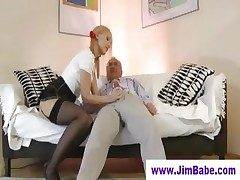 Blonde thither mini skirt and old chap