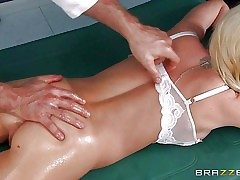 Blonde Madison Scott with small ass, cock-squeezing pink pussy and