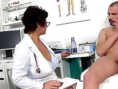 Muddy czech cougar Gabina is naughty doctor in cfnm act