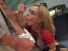 Ball sucking grown up blonde teacher Tanya Tate with immeasurably firm