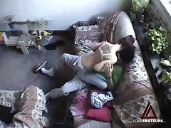 Hidden cam films teen couple having hot copulation